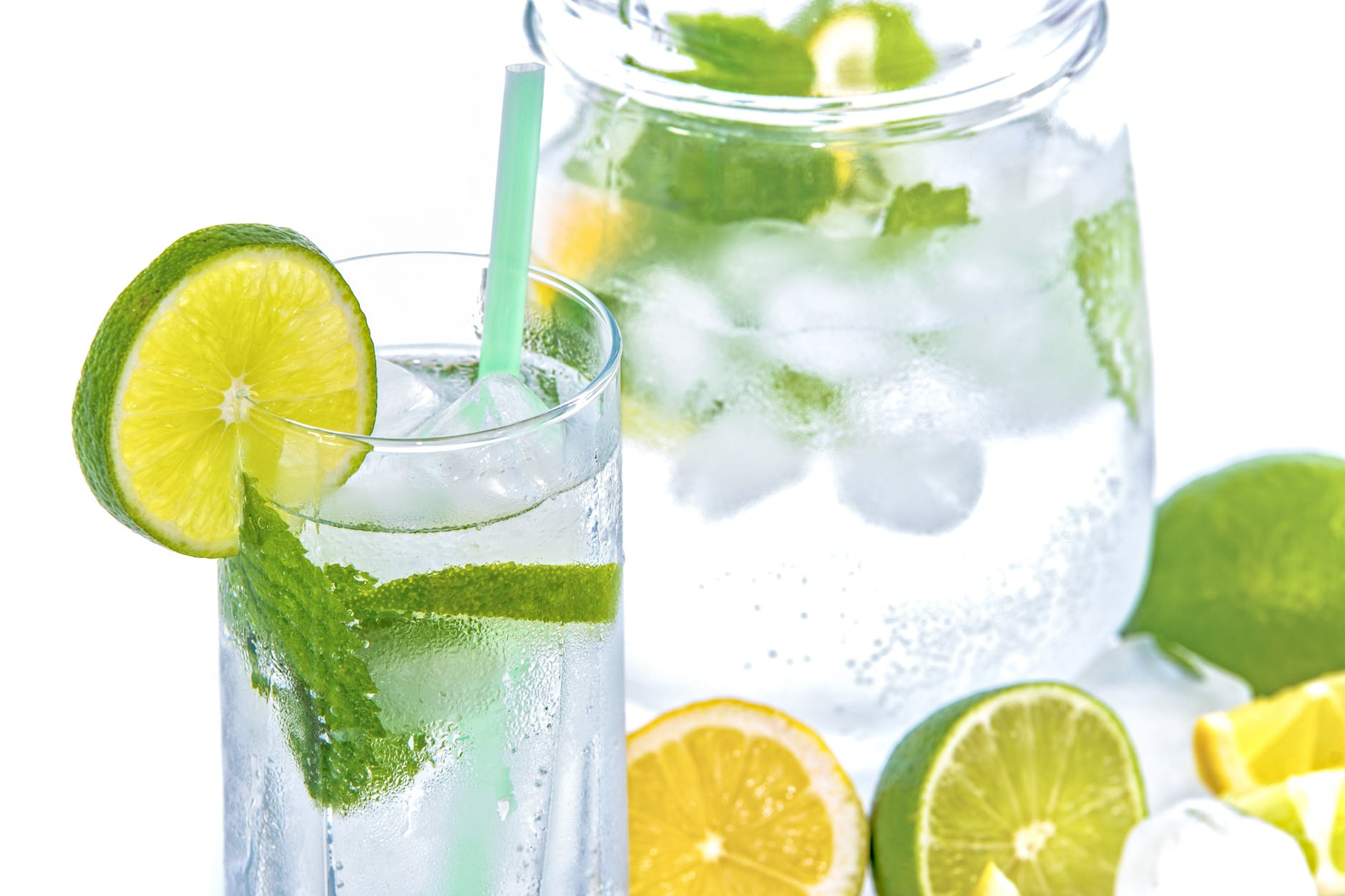 full drinking glass with slice of lime