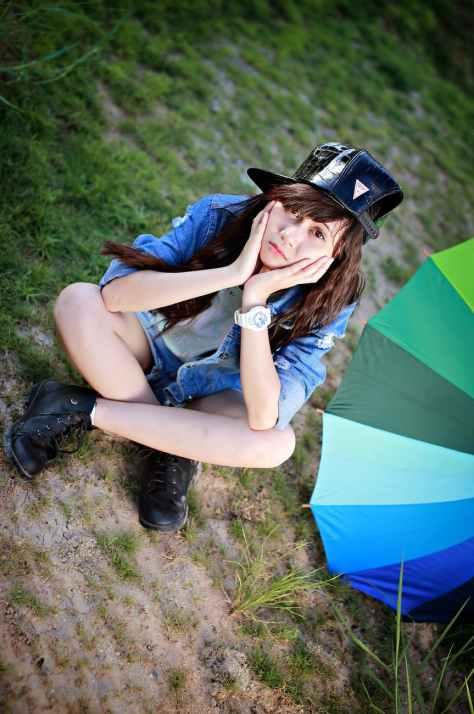 adolescent alone brunette casual