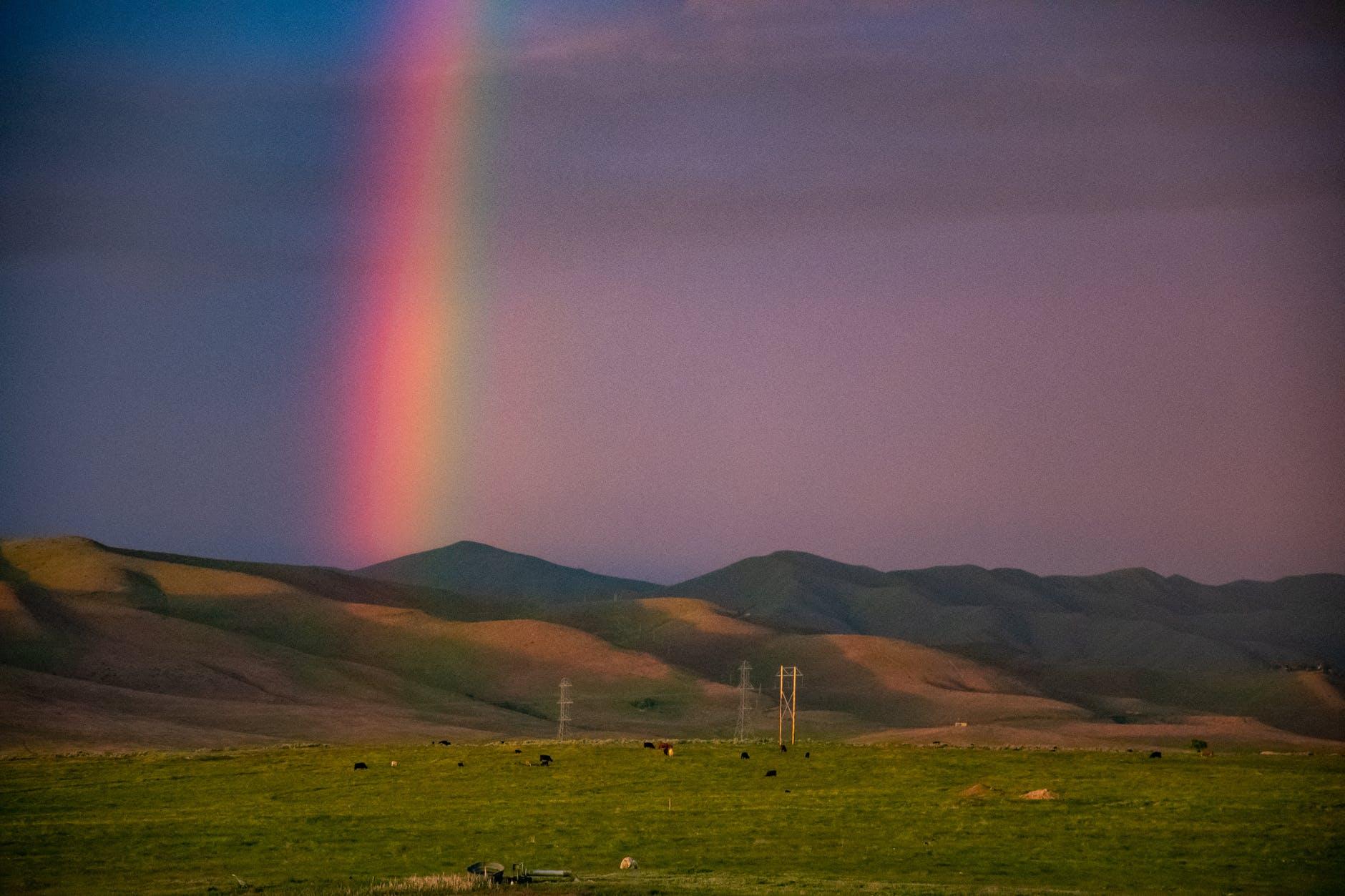 rainbow on mountain