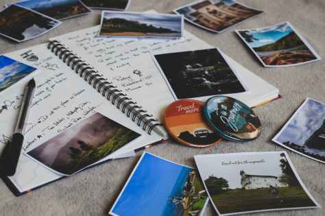assorted photos and notebook