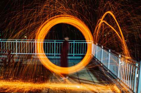 steel wool photography at night